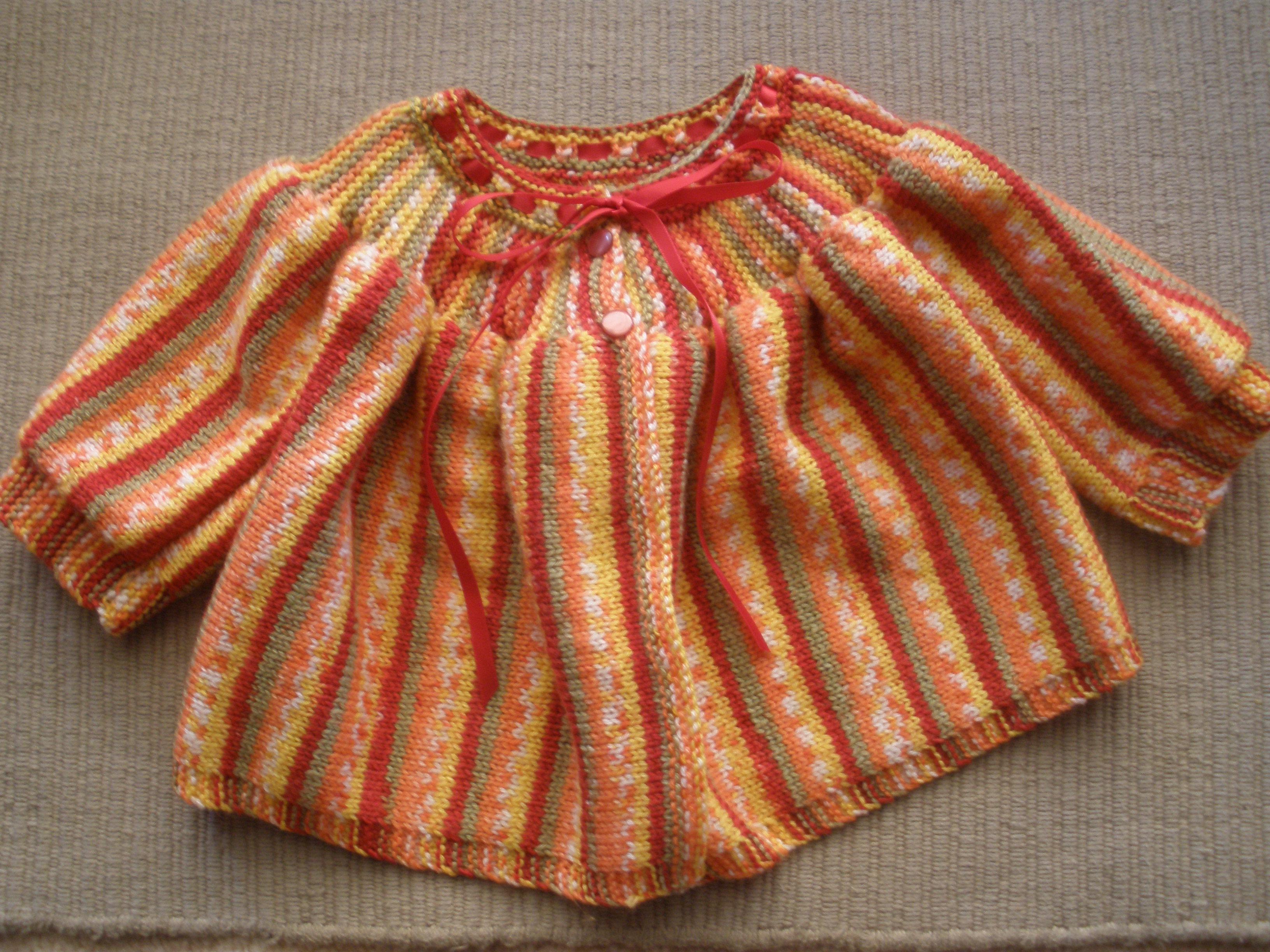 Knitted Baby Jackets Free Patterns : Free baby yoke jacket knitting pattern Gippsland Granny