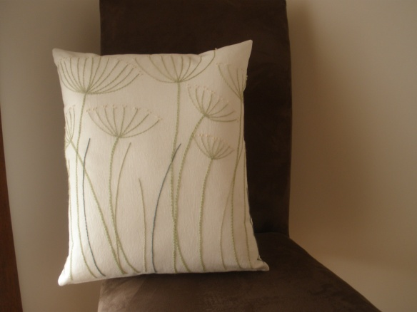 crewel cushion