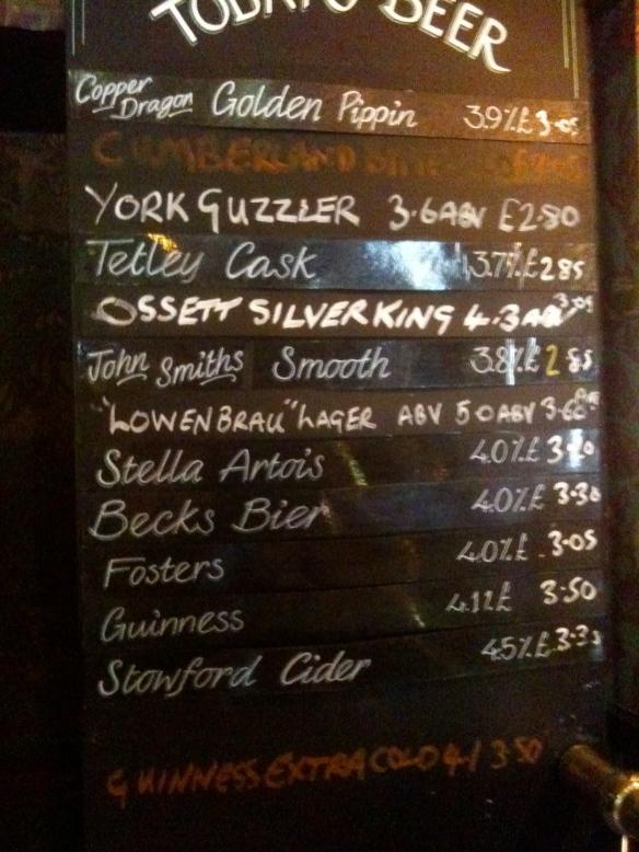 hotel blackboard
