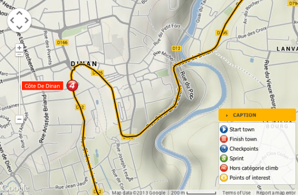 route map near Dinan