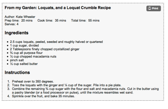 loquat crumble recipe