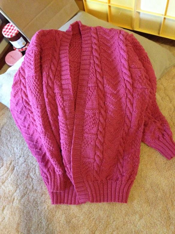 pink aran cardigan
